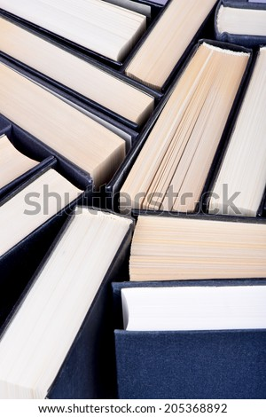 Used hardback books or text books seen from above
