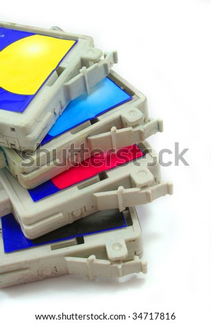 used inkjet printer cartridge - stock photo