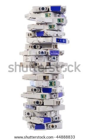 Used inkjet printer cartridge on white background - stock photo