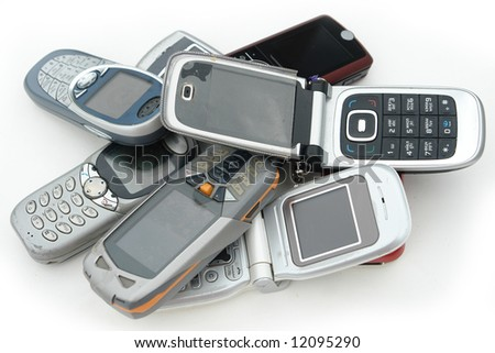 used old  Cell phones - stock photo