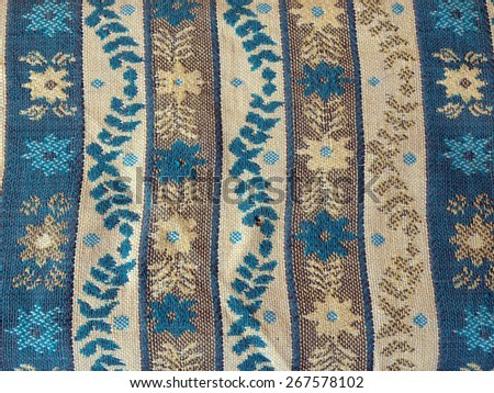 Used old fabric background in blue colors         - stock photo