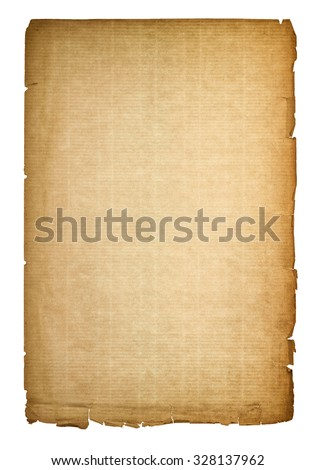 Used paper page texture with worn edges. Vintage cardboard background with vignette - stock photo