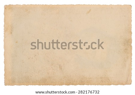 Used paper sheet isolated on white background. Grungy cardboard texture - stock photo