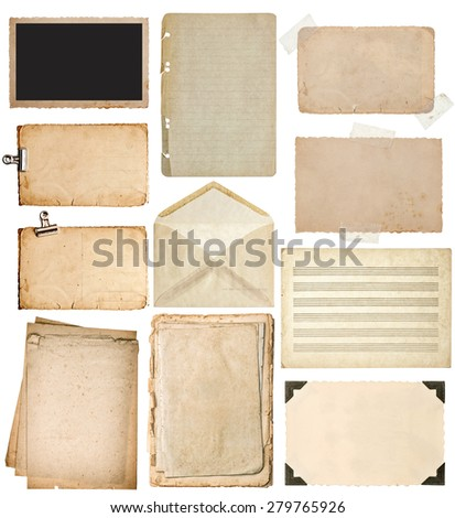 Used paper sheets set. Vintage book pages, cardboards, music notes, photo frame with corner, envelope isolated on white background