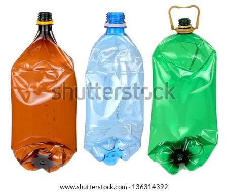 Used plastic bottles - stock photo