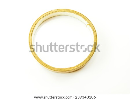 used scotch tape on white background - stock photo