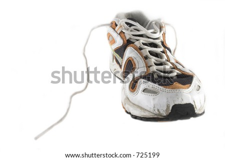 Used sport trainers and socks isolated on white background - stock photo