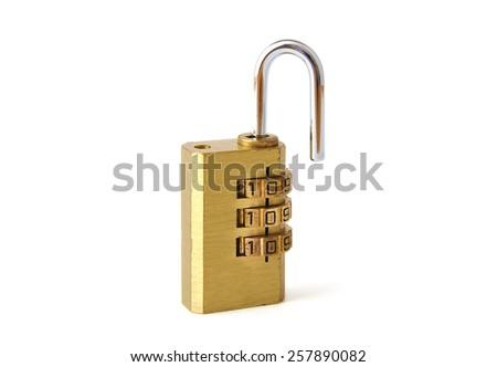 Used steel unlocked padlock on white background - stock photo