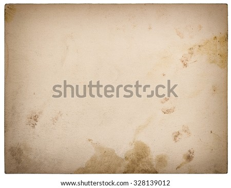 Used textured paper cardboard isolated on white background. Retro style toned with vignette - stock photo