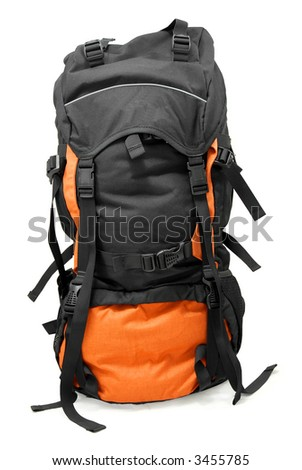 Used tourist backpack isolated on white - stock photo