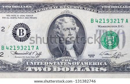 used two dollars bill macro - stock photo