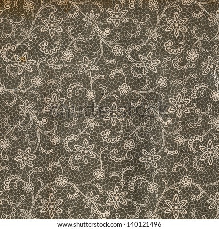 Used vintage wallpaper with lace - Flower bouquet - natural grainy surface - circa 1910 - stock photo