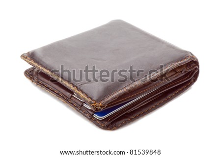 used wallet with credit cards inside - stock photo