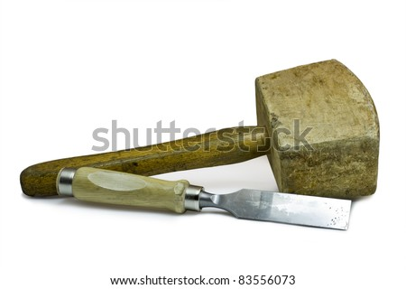 Used Wooden Hammer And Chisel On White Background. These Work Tools Are  Used By The