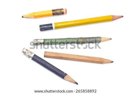 Used wooden pencil isolated on white
