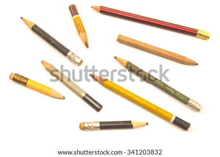 Used wooden pencils isolated on white