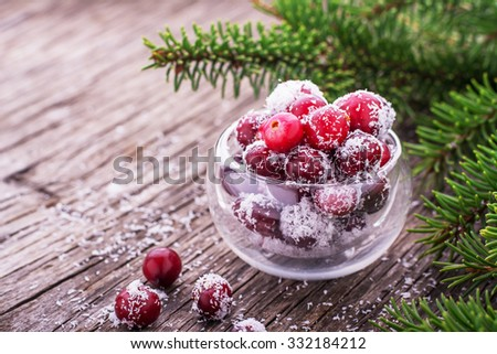 Useful natural sweets of ripe cranberries and sweet coconut on the wooden background with fir branches. The concept of beneficial natural diet without sugar. selective Focus - stock photo