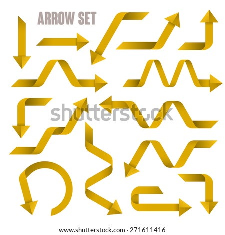 useful yellow arrows set collection over white background