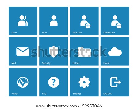 User Account icons on blue background. See also vector version. - stock photo