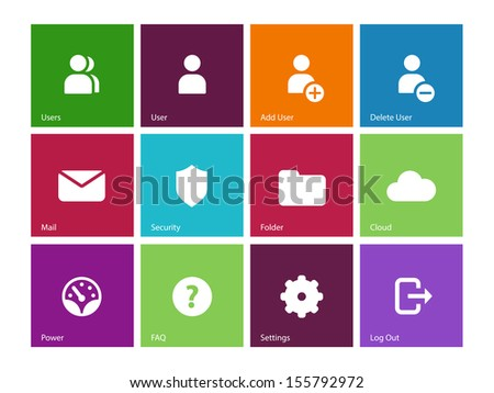 User Account icons on color background. See also vector version. - stock photo