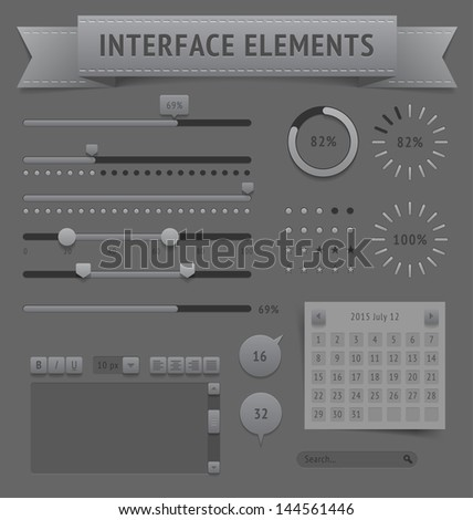 User interface elements. Raster version.