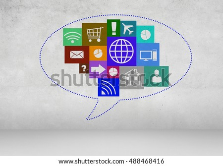 User interface on wall background