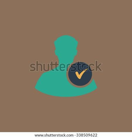 User profile web with check mark glyph. Colored simple icon. Flat retro color modern illustration symbol - stock photo