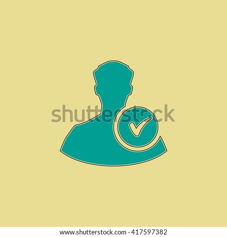 User profile web with check mark glyph. Grren simple flat symbol with black stroke over yellow background - stock photo