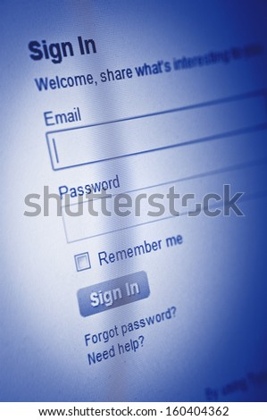 Username and Password in Internet Browser on Computer Screen - stock photo