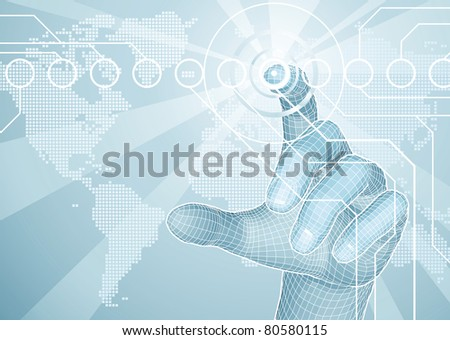 Users hand selecting concept background with world map - stock photo