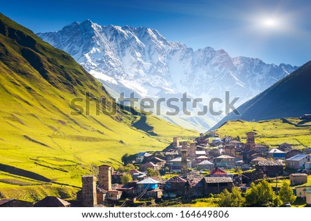 Ushguli that consists of four small villages located at the foot of Mt. Shkhara and Enguri gorge. Upper Svaneti, Georgia, Europe. Caucasus mountains. Beauty world. - stock photo