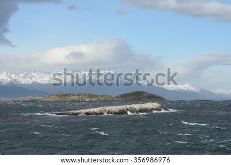 USHUAIA, ARGENTINA - NOVEMBER 16,2014:The Beagle channel separating the main island of the archipelago of Tierra del Fuego and lying to the South of the island.