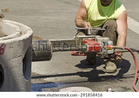Drill pipe stock images royalty free images vectors for How to cut a hole in concrete floor