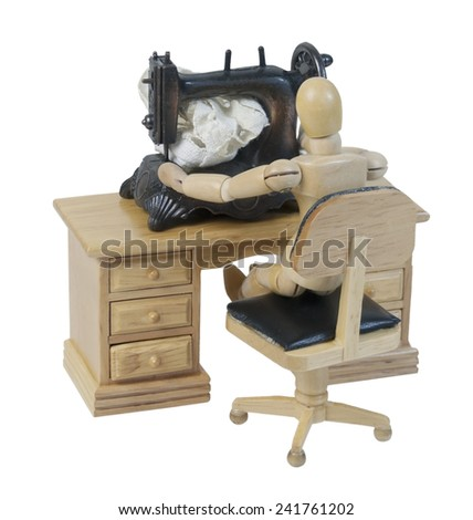 Using a Vintage sewing machine with a foot pedal - path included - stock photo