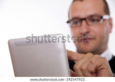 Using digital tablet in the office  - stock photo