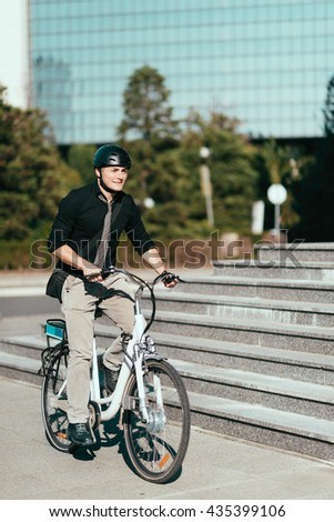 Using electric bicycle in the city