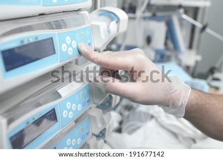 Using equipment in hospital  - stock photo