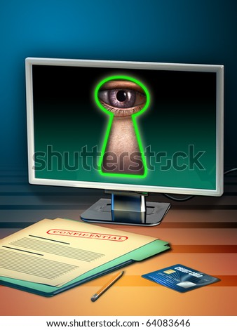 Using internet to steal personal data. Digital illustration. - stock photo