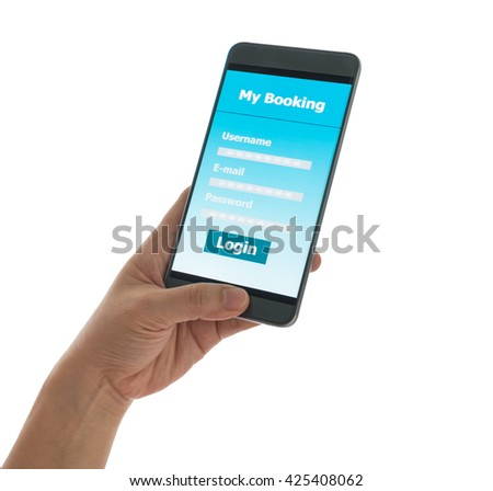 Using mobile smart phone Booking hotel isolated on white background With clipping path.