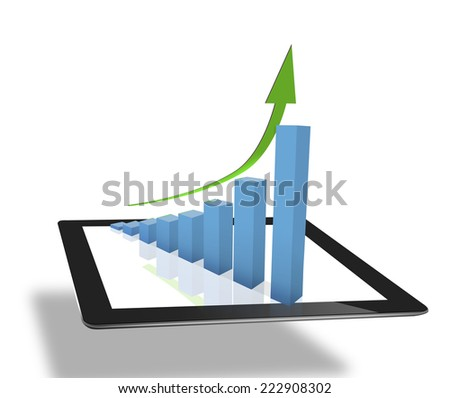 using tablet computer to work with financial data  - stock photo