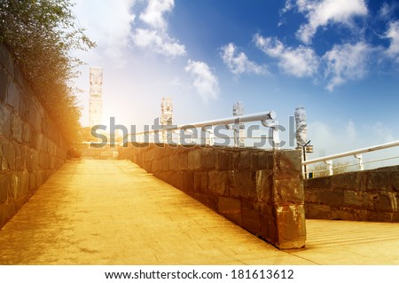 using wheelchair ramp (Barrier-free access) - stock photo