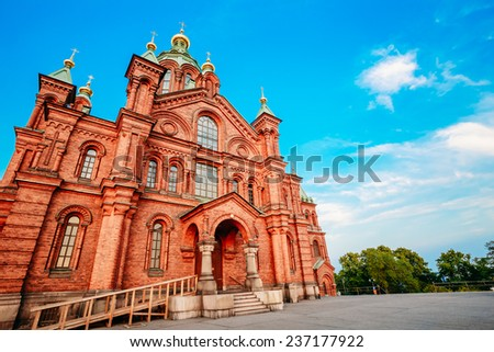 Uspenski Cathedral, Helsinki On Hill At Summer Sunny Day. Red Church - Tourist destination In Finnish Capital, Finland. - stock photo