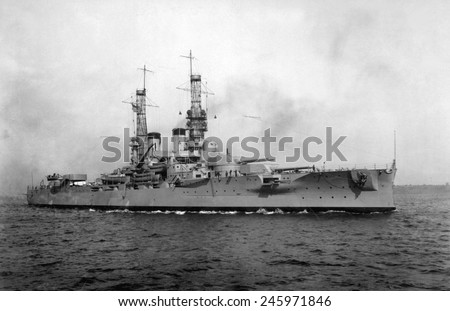 USS Arkansas, ca. 1918. One of two Wyoming-class battleships, commissioned in 1912, she was among the oldest ships of WWII. Her last action was at Bikini Atoll in July 1946. - stock photo