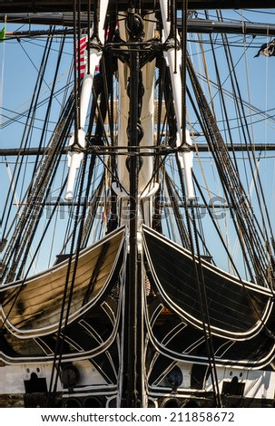 USS Constitution, the oldest commissioned ship in the US Navy. - stock photo