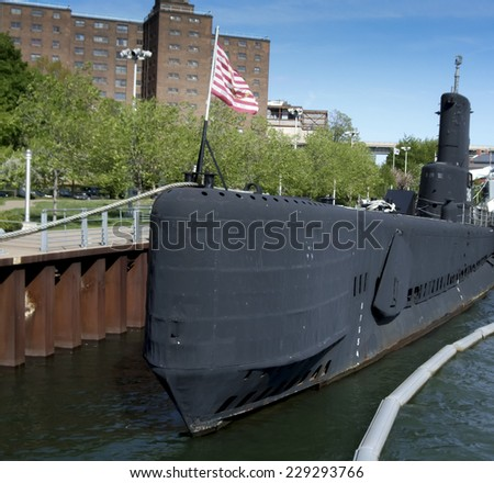 USS Croaker submarine in Lake Erie, Buffalo And Erie County Naval & Military Park, Buffalo, New York City, New York State, USA - stock photo