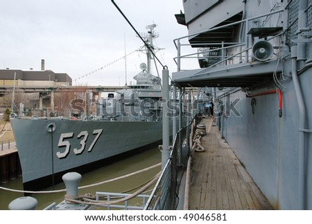 USS The Sullivans and USS Little Rock - stock photo