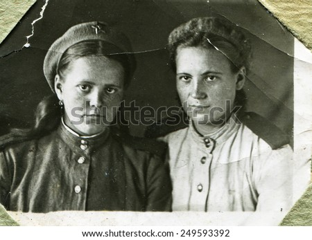 USSR - 1945: An antique studio photo of two women officer, 1945, USSR - stock photo