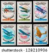 USSR - CIRCA 1977: A set of postage stamps printed in USSR shows aircraft, series, circa 1977 - stock photo