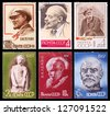USSR - CIRCA 1963-1968: A set of postage stamps printed in USSR shows Communist Lenin, series, circa 1963-1968 - stock photo