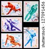 USSR - CIRCA 1980: A set of postage stamps printed in USSR shows olympic games in Lake Placid, series, circa 1980 - stock photo